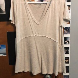 Cream v neck shirt